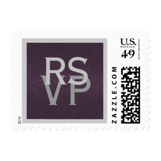 Purple and Silver Damask RSVP Postage