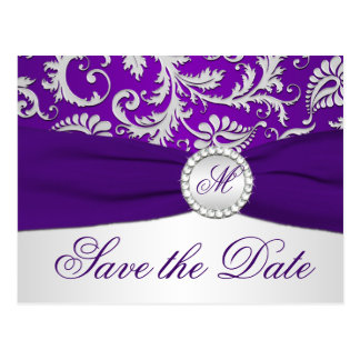 Purple and Silver Damask Save the Date Card