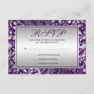 Purple and Silver Damask Swirls Response Card