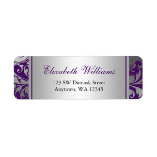Purple and Silver Damask Swirls Return Address Label