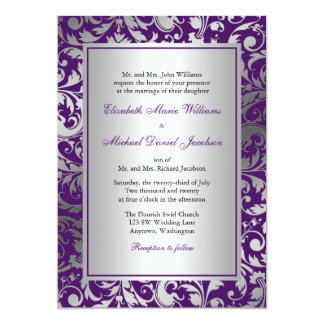 Purple and Silver Damask Swirls Wedding Card