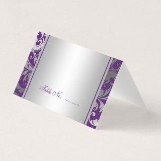 Purple and Silver Damask Swirls Wedding Folded Place Card