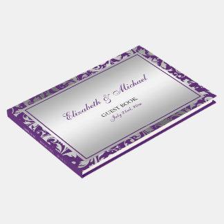 Purple and Silver Damask Swirls Wedding Guest Book