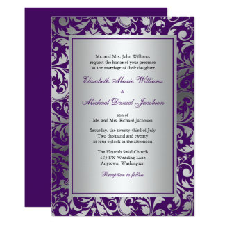 Purple and Silver Damask Swirls Wedding Invitation