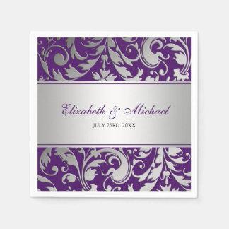 Purple and Silver Damask Swirls Wedding Paper Napkin