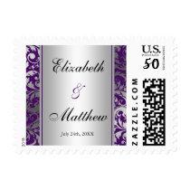 Purple and Silver Damask Swirls Wedding Postage