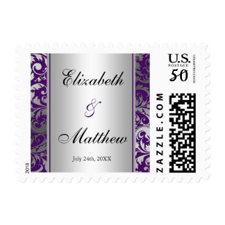 Purple and Silver Damask Swirls Wedding Postage
