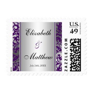 Purple and Silver Damask Swirls Wedding Postage Stamp