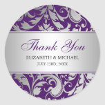 Purple and Silver Damask Swirls Wedding Thank You Classic Round Sticker