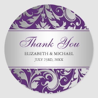 Purple and Silver Damask Swirls Wedding Thank You Classic Round Sticker