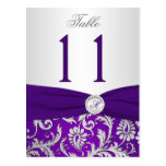 Purple and Silver Damask Table Number Card Postcard