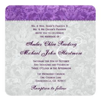 Purple and Silver Damask Wedding 2 Card
