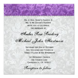 Purple and Silver Damask Wedding Card