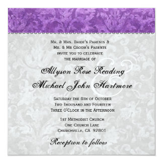 Purple and Silver Damask Wedding 5.25x5.25 Square Paper Invitation Card
