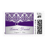 Purple and Silver Damask Wedding Postage