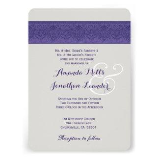 Purple and Silver Damask Wedding Template V06 Custom Invite