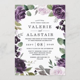 Purple and Silver Elegant Floral White Wedding Invitation