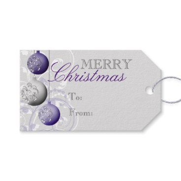 Christmas Themed Purple and Silver Festive Christmas Gift Tags