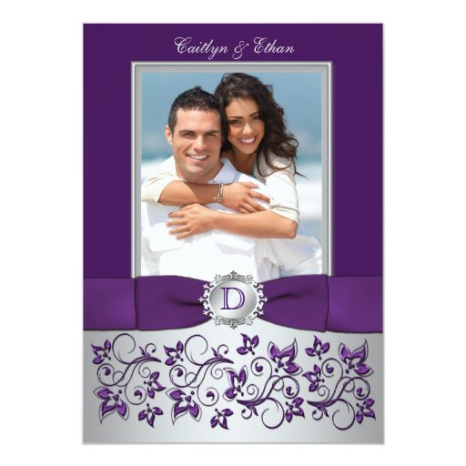 Purple and Silver Floral Photo Wedding Invitation