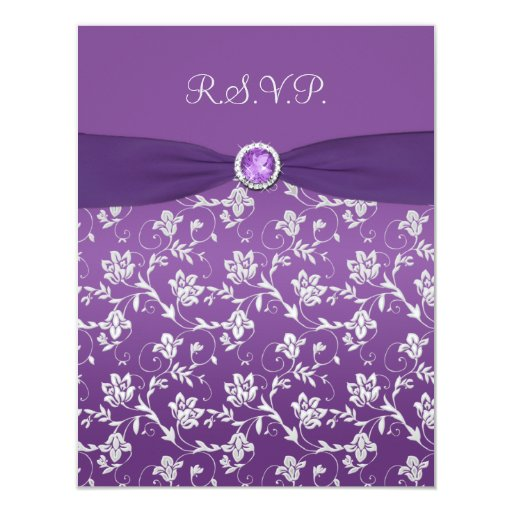 Purple and Silver Floral RSVP Card