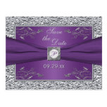 Purple and Silver Floral Save the Date Card Postcard