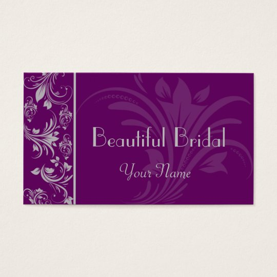 Purple and Silver Floral Scroll Business Card
