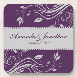 Purple and Silver Floral Swirls  Wedding Coaster
