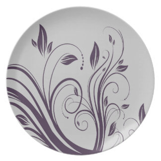 Purple and Silver Floral Swirls  Wedding Dinner Plate