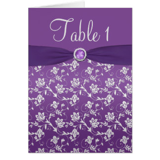 Purple and Silver Floral Table Number Card