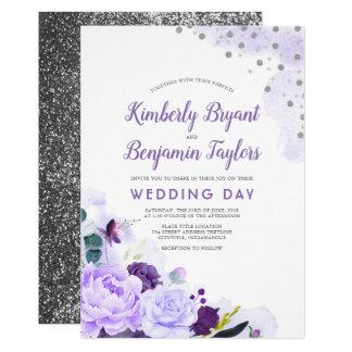 Purple and Silver   Floral Watercolor Wedding Invitation