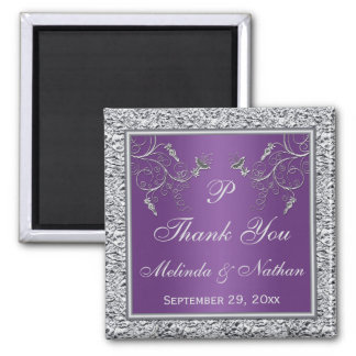 Purple and Silver Floral Wedding Favor Magnet