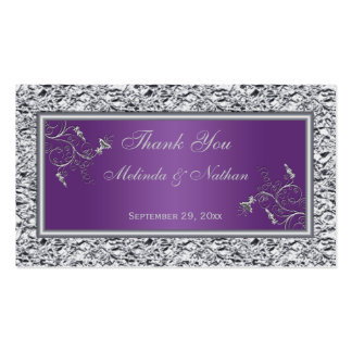 Purple and Silver Floral Wedding Favor Tag Business Card
