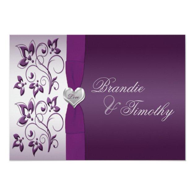 purple and silver floral wedding invitation