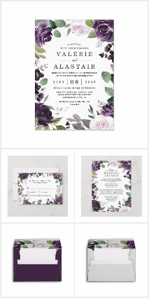 Purple and Silver Floral Wedding Invitations Set