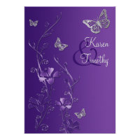 Purple and Silver Floral with Butterflies Invite (<em>$2.30</em>)