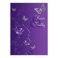 Purple and Silver Floral with Butterflies Invite (<em>$2.43</em>)