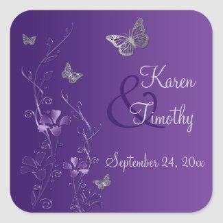 Purple and Silver Floral with Butterflies Sticker zazzle_sticker