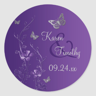 Purple and Silver Floral with Butterflies Sticker