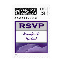 PURPLE and SILVER Flower Petals RSVP Stamps