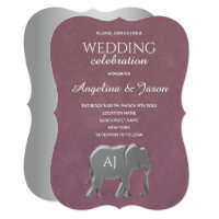 Purple and Silver Foil Elephant Monogram Wedding Invitation