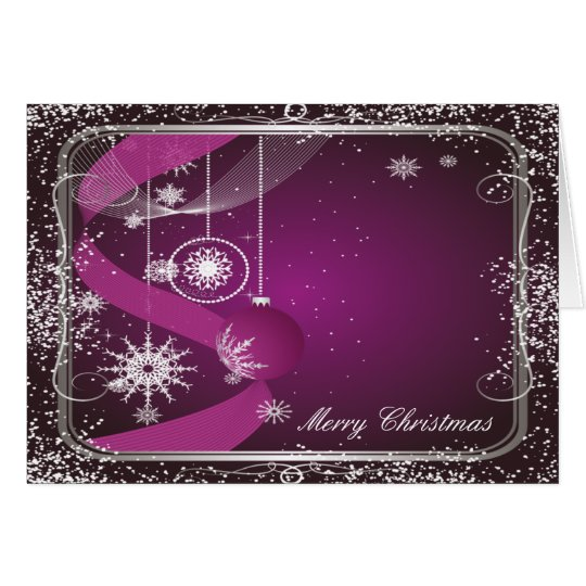 Purple and Silver framed ornament Card