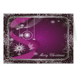 Purple and Silver framed ornament Greeting Card