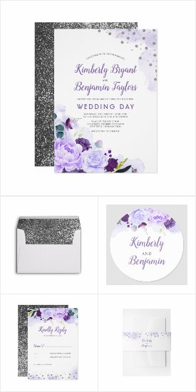 Purple and Silver Glitter Flowers Wedding Invitation Set
