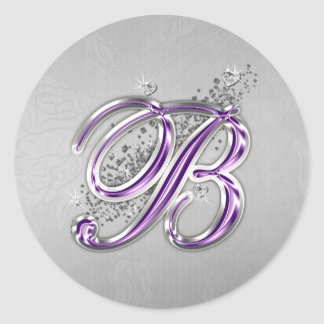 Purple and Silver Glitter Monogram B Sticker