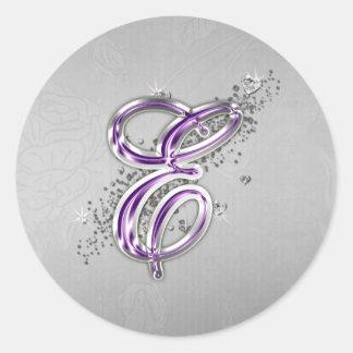 Purple and Silver Glitter Monogram E Sticker