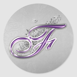 Purple and Silver Glitter Monogram F Sticker