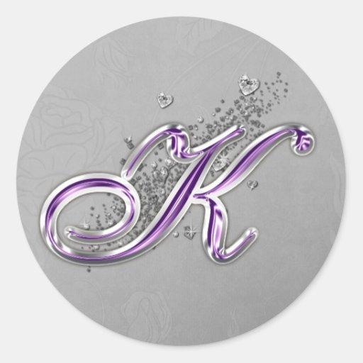 Purple and Silver Glitter Monogram K Sticker
