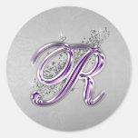 Purple and Silver Glitter Monogram R Sticker