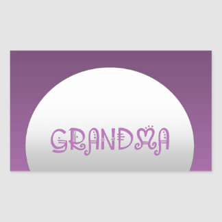 Purple And Silver Grandma Rectangular Sticker