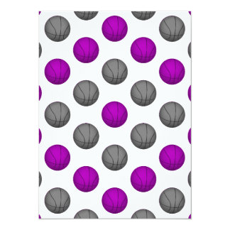 Purple and Silver Gray Basketball Pattern Card